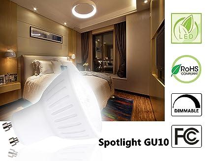 (Pack of 10)GU10 65watt LED Bulbs Halogen Flood Light Bulbs PC Cover and Twistline Base GU10 Base Spotlight Bulbs 3000K Soft White 120Volt 700lumen ...