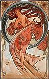 Alphonse Mucha Art Nouveau Style 'Dance' Cotton Canvas Giclee Print 29 x 18 cm
