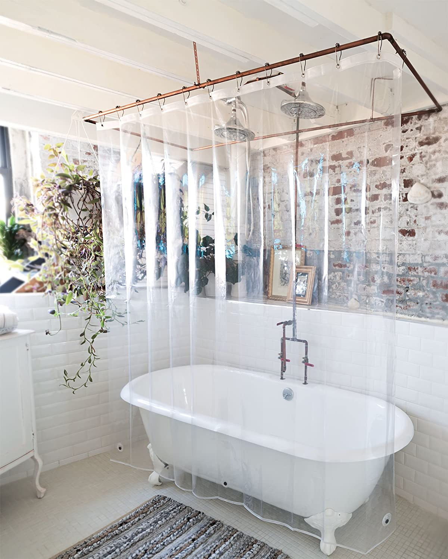 Amazon.com: USA Made + PEVA Shower Curtain Liner - PVC Free, Clear ...