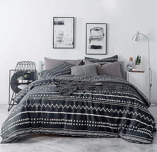 Black Double Bed Duvet Plain Soft Cover Set x2 Pillow Cases Button Up Closure