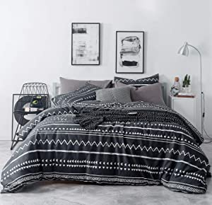 SUSYBAO 3 Pieces Duvet Cover Set 100% Natural Cotton Black Queen Size White Triangle Bedding with Zipper Ties 1 Herringbone Geometric Duvet Cover 2 Pillowcases Hotel Quality Soft Comfortable Durable