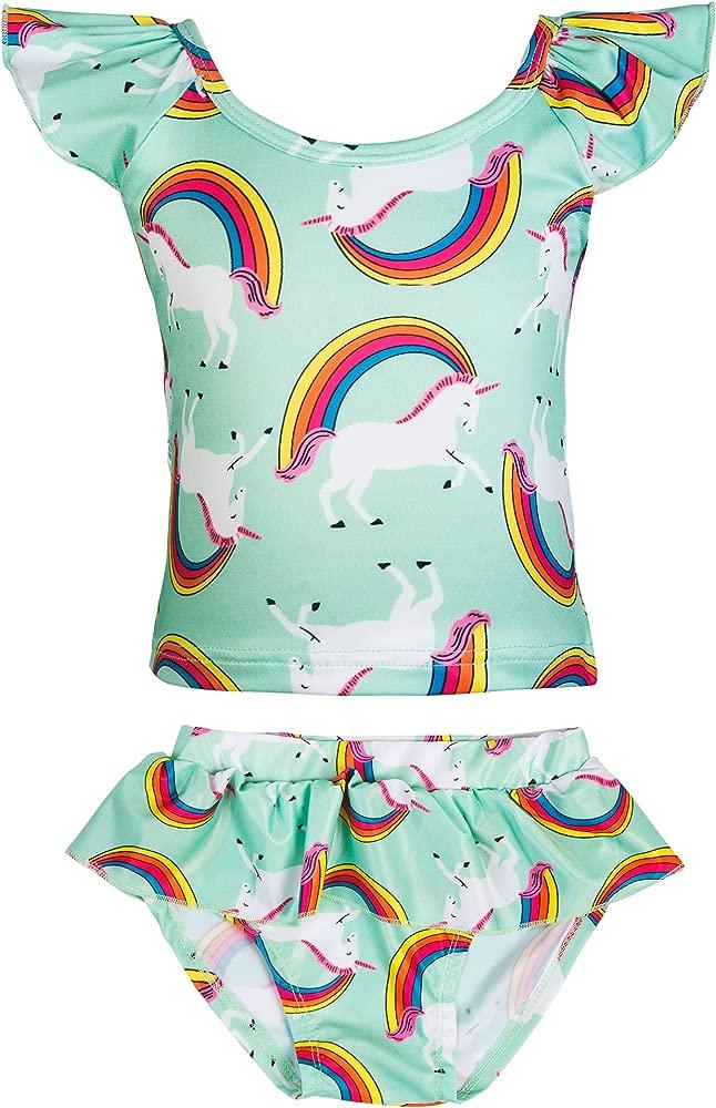 Cotrio Little Girls Summer Two Piece Boyshort Tankini Swimsuit Kids Swimwear