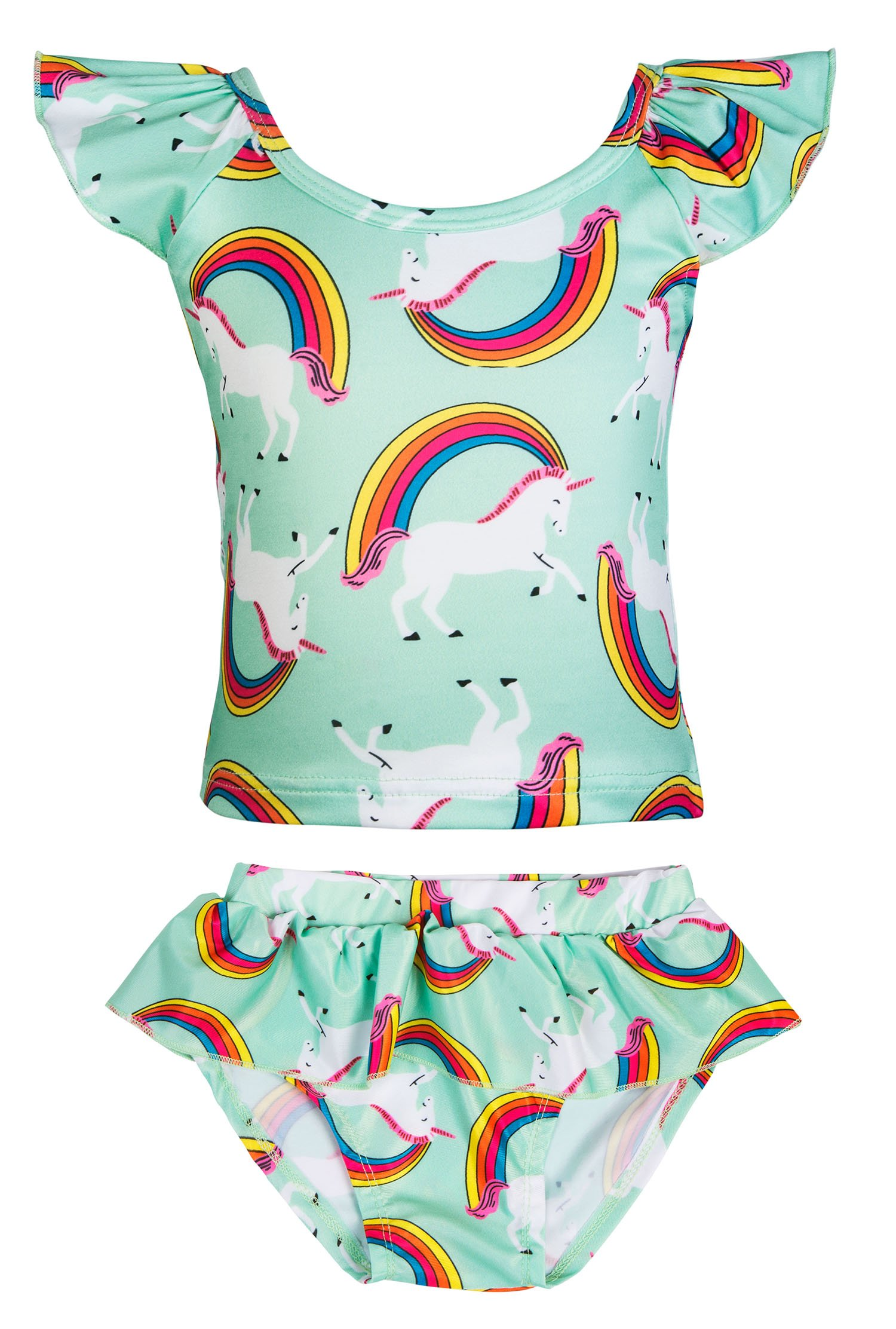 KABETY Girls Rainbow Unicorn Swimsuit Two Pieces Swimwear Bathing Suit Bikinis (Green, 3T)