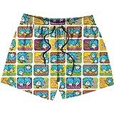 HailinED Boys Kids Blue Leafy camo Quick Dry Beach Swim Trunk Funny Swimsuit Beach Shorts with Pocket