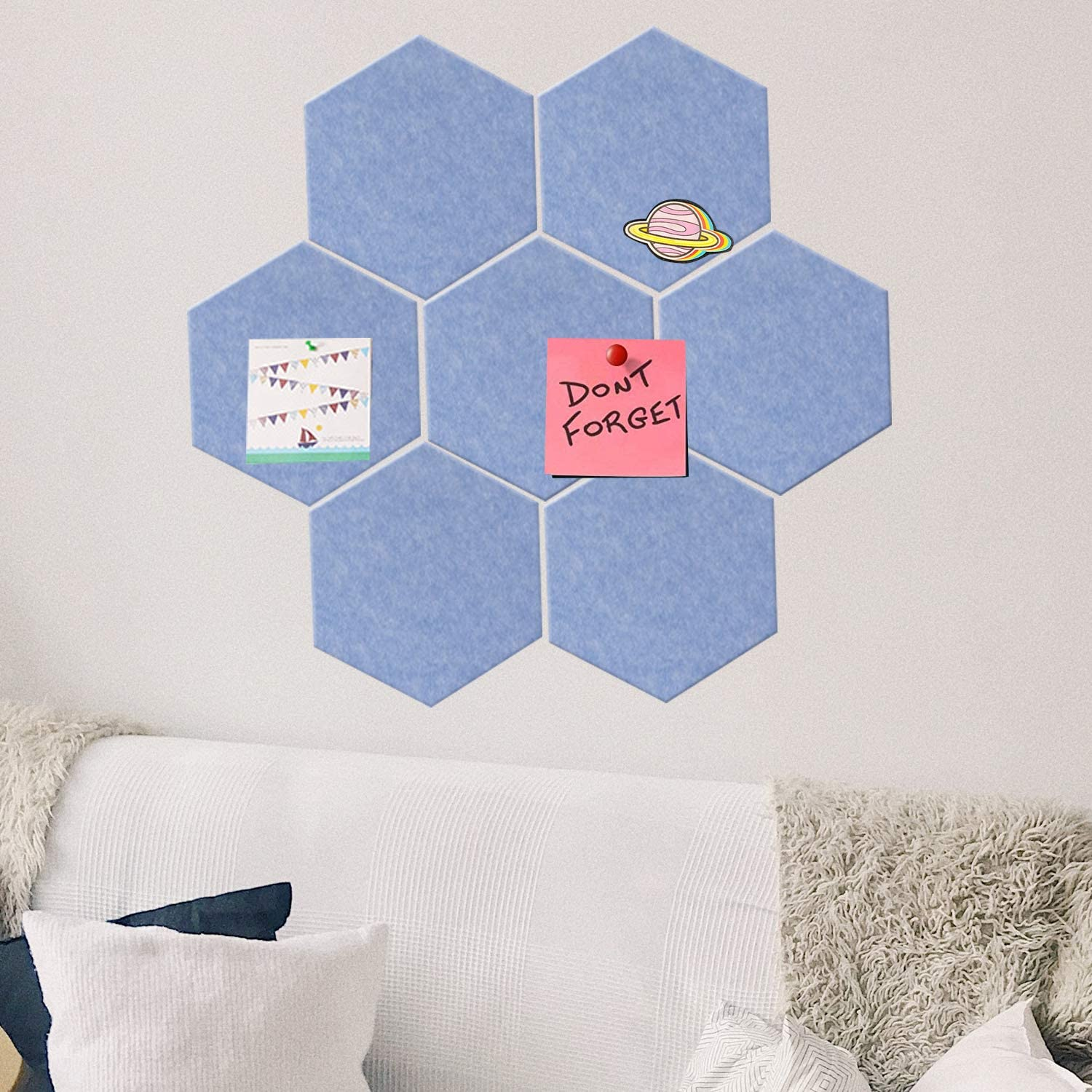 Fanciher 7 Pack Hexagon Felt Board, Cork Board, Memo Board, Adhesive Wall Bulletin Board, Message Board, for Office Bedroom Home Wall Decor with Push Pins with 20 pcs pins (Blue)