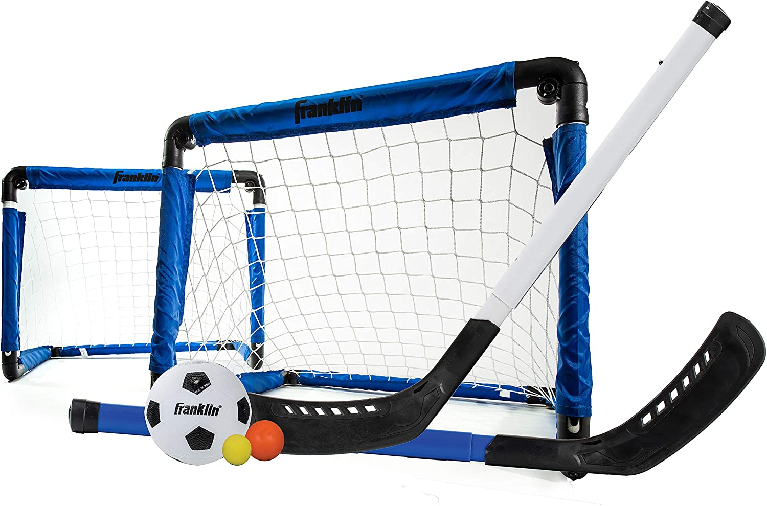 Franklin Sports Indoor Mini Goal Sports Set - 3 in 1 Kids Indoor Goal Set - Indoor Mini Floor Hockey, Knee Hockey, and Mini Soccer Set for Kids : Hockey Equipment : Sports & Outdoors