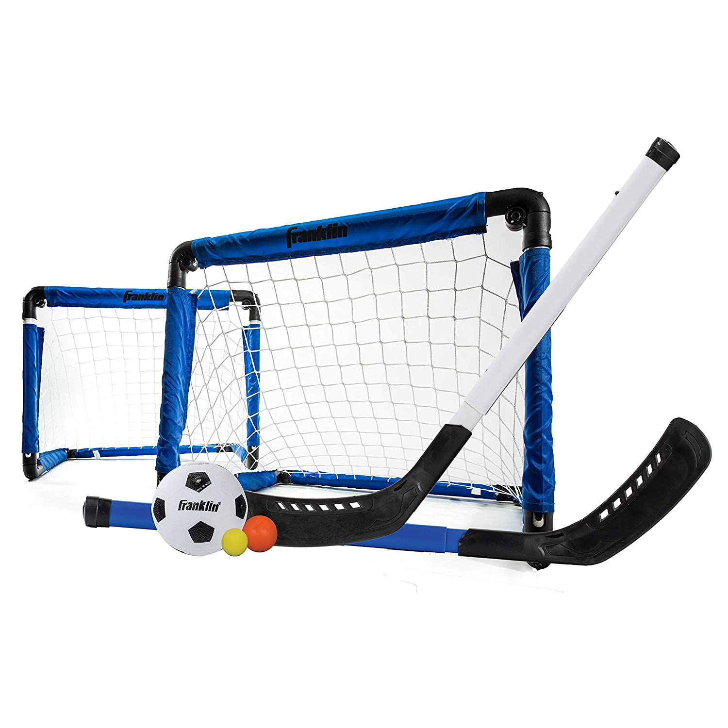 Franklin Sports Indoor Goal Set - Includes 2 Adjustable Hockey Sticks, 2 Foam Hockey Balls, 1 Street Hockey Ball, and 1 Mini Soccer Ball