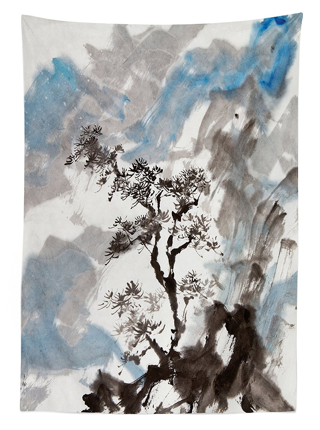 Hazy Artistic Depiction of A Pine Tree Landscape on the Hill Mountain with Rough Blasts Rectangular Table Cover for Dining Room Kitchen Blue Grey COMINHKPR129149 Ambesonne Japanese Decor Tablecloth 52x70 Inches