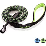 Extra Heavy Duty Rope Dog Leash by Paw Lifestyles - 6ft Long, Soft Padded Handle For Comfort, Reflective - Perfect Leash for Medium and Large Dogs