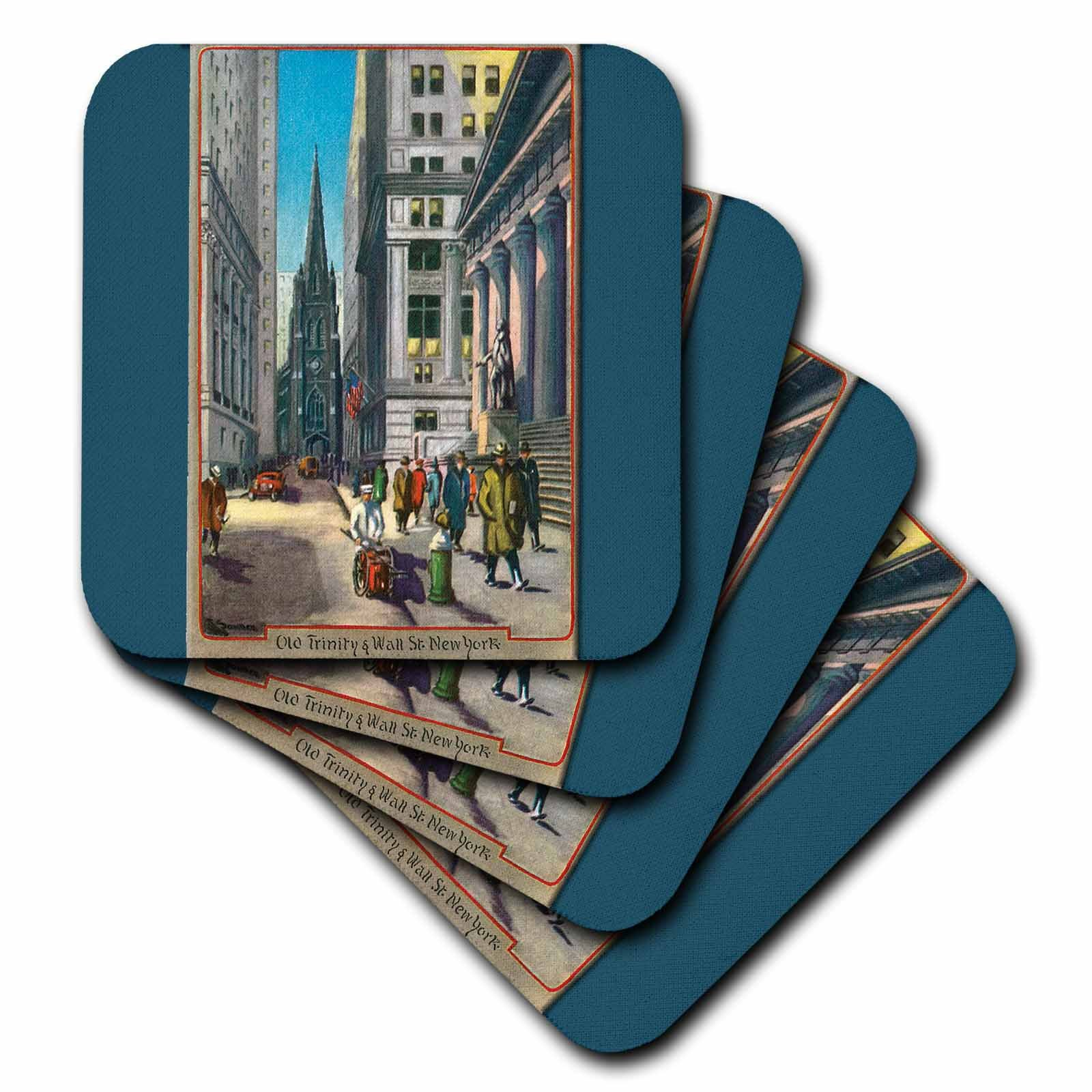 3dRose Old Trinity and Wall Street New York City - Soft Coasters, set of 4 (cst_170143_1)