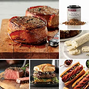 At Home Assortment from Omaha Steaks (Bacon-Wrapped Filet Mignons, Butcher's Cut Filet Mignons, Filet Mignon Burgers, Filet Mignon Polish Sausages, Seasoned Butter Sauce, and Signature Seasoning)