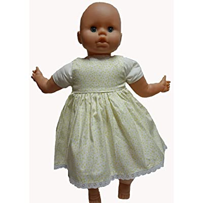 Doll Clothes Superstore Pale Yellow Flower Dress Fits 18-21 Inch Large Baby Dolls: Toys & Games