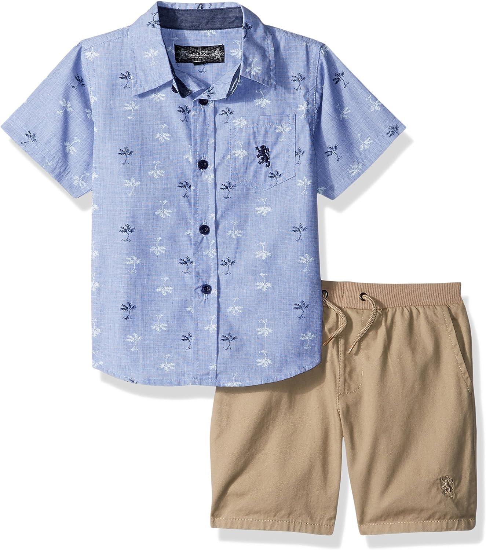 English Laundry Boys' Palm Print Chambray Sport Shirt and Pull on Short