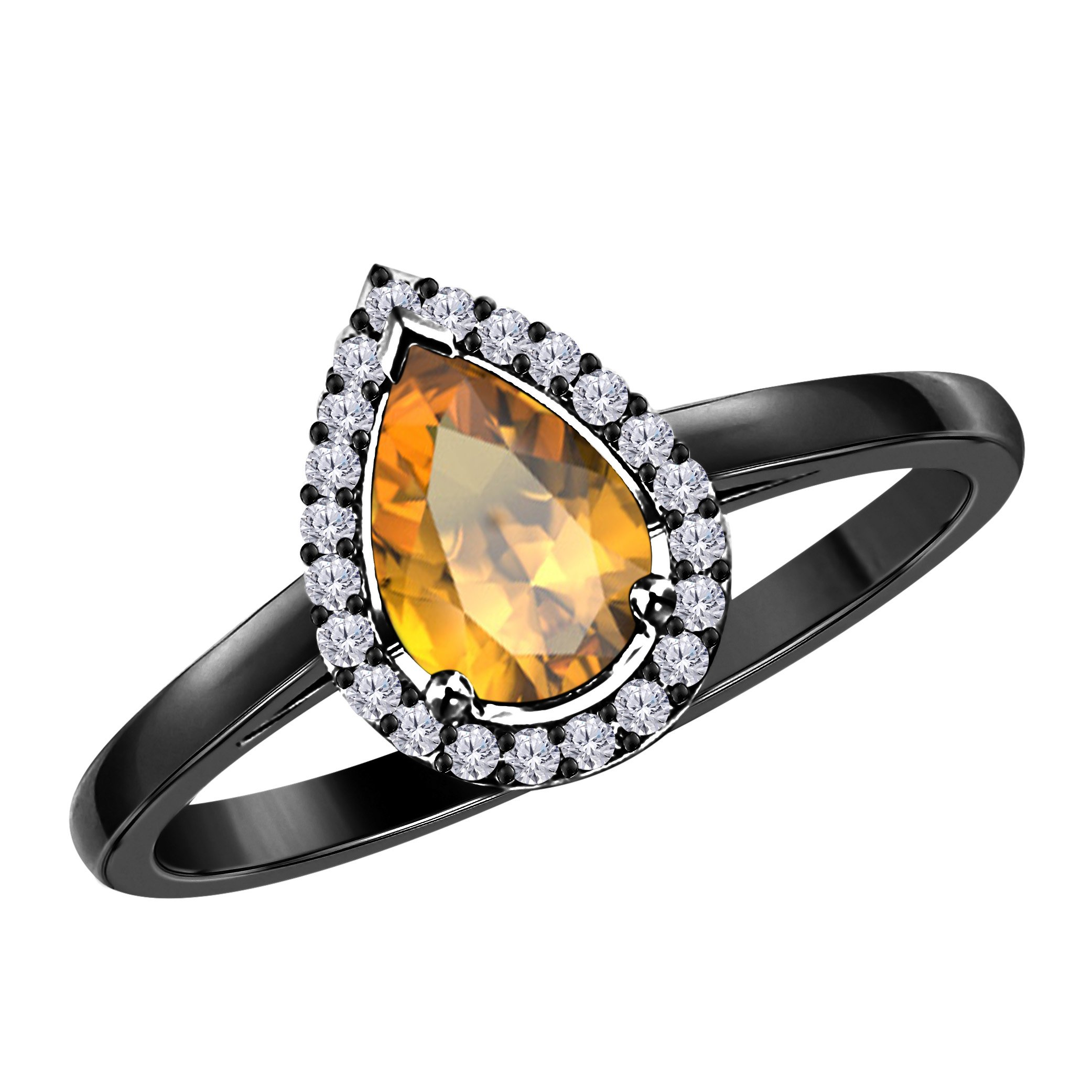 2.50 Carat Pear Shape Lab Created Yellow Citrine & Cubic Zirconia Halo Style Black Rhodium Plated .925 Sterling Silver Wedding Engagement Ring Womens Jewelry