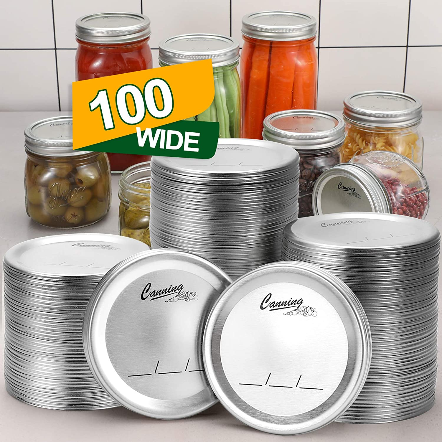 100-Count, [WIDE Mouth] Canning Lids for Ball, Kerr Jars - Split-Type Metal Mason Jar Lids for Canning - Food Grade Material, 100% Fit & Airtight for Wide Mouth Jars - PATENT PENDING