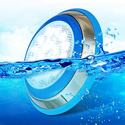 CNBRIGHTER LED Underwater Swimming Pool Lights,54W CREE Chip 12V AC,Wall  Surface Mounted IP68 Waterproof,Stainless Steel,with 20ft Cord (Cool ...