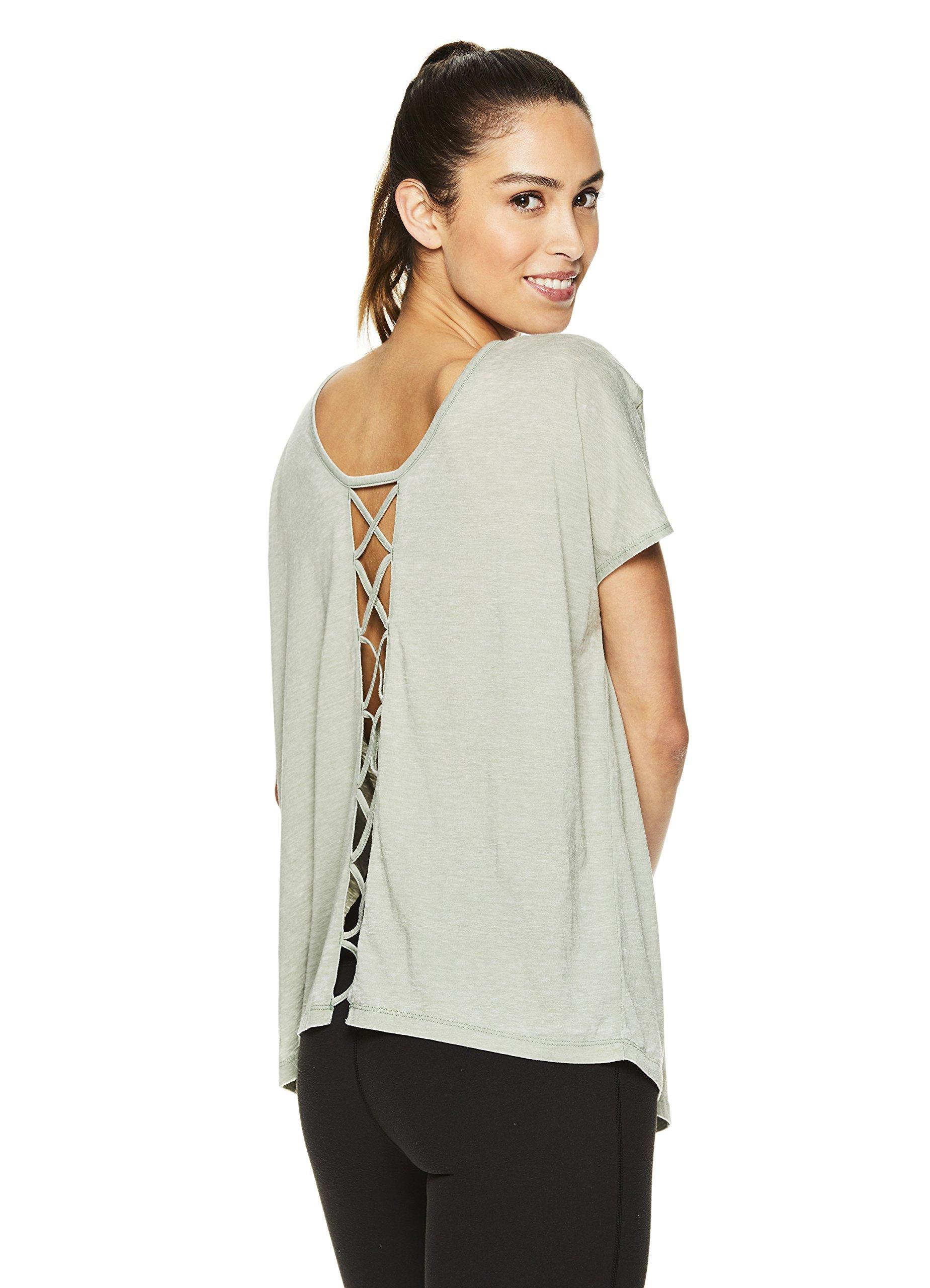 Gaiam Women's Short Sleeve Open Back Yoga T Shirt - Relaxed Fit Workout & Training Top - Dufflebag, X-Large
