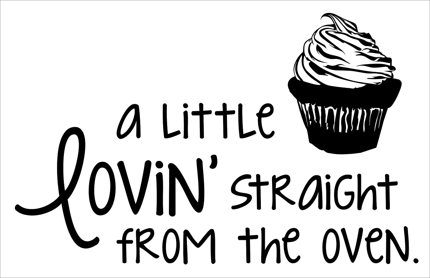 """Wall Decor Plus More WDPM3691 A Little Lovin' Straight From the Oven with Cupcake Art Kitchen Quote Wall Décor Stickers, 33 x 20"""", Black"""