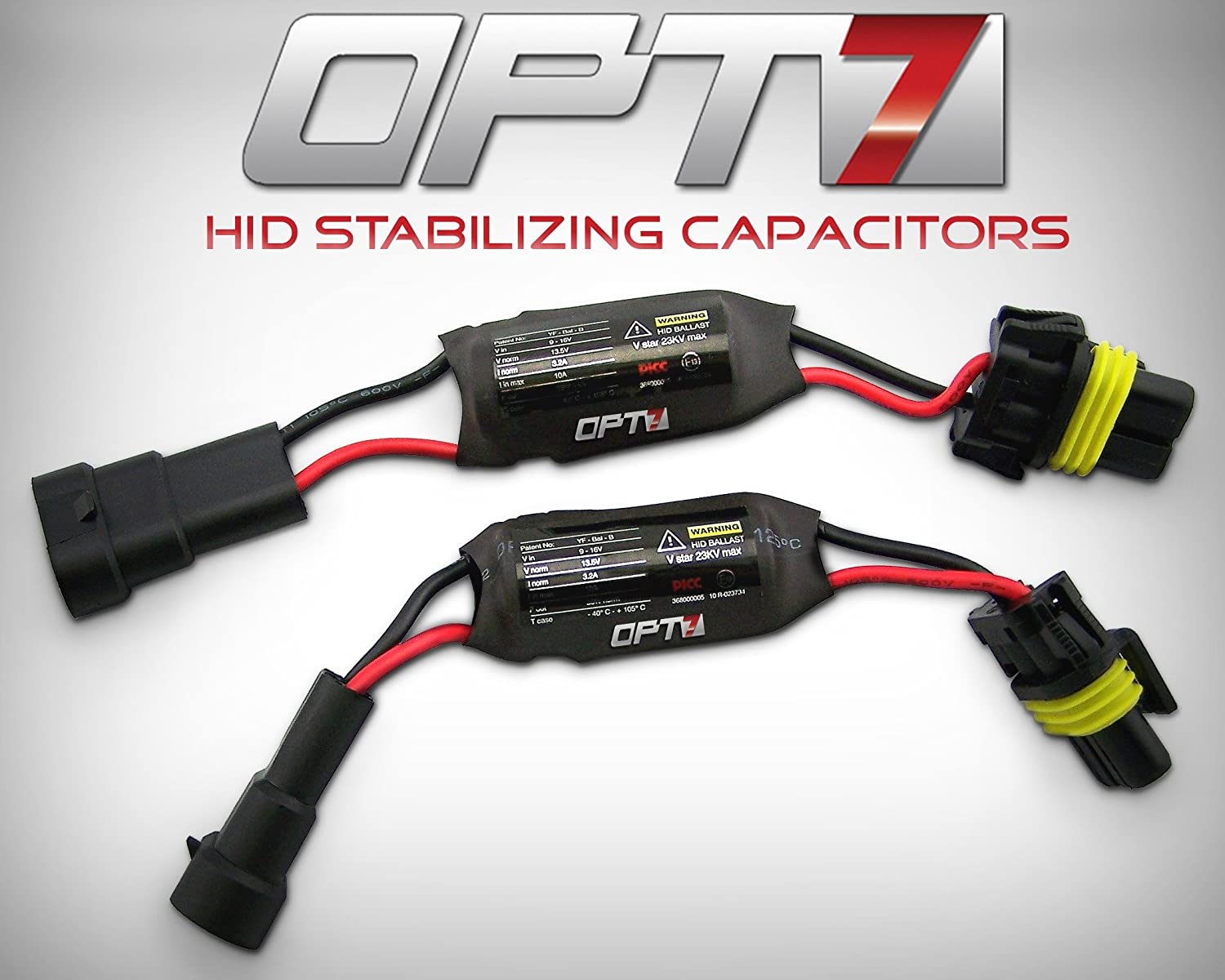 Opt7 Hid Anti Flicker Capacitors Warning Light Canceler 12 Volt Wiring Harness Dodge Ram Error Eliminator Pair Automotive