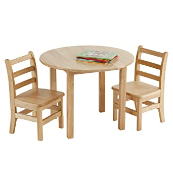 Ecr4kids 30 Inch Round Natural Hardwood Table 22 Inch Height With Two 12 Inch Chairs 3 Piece Set Kids Furniture Children S Solid Wood Table And