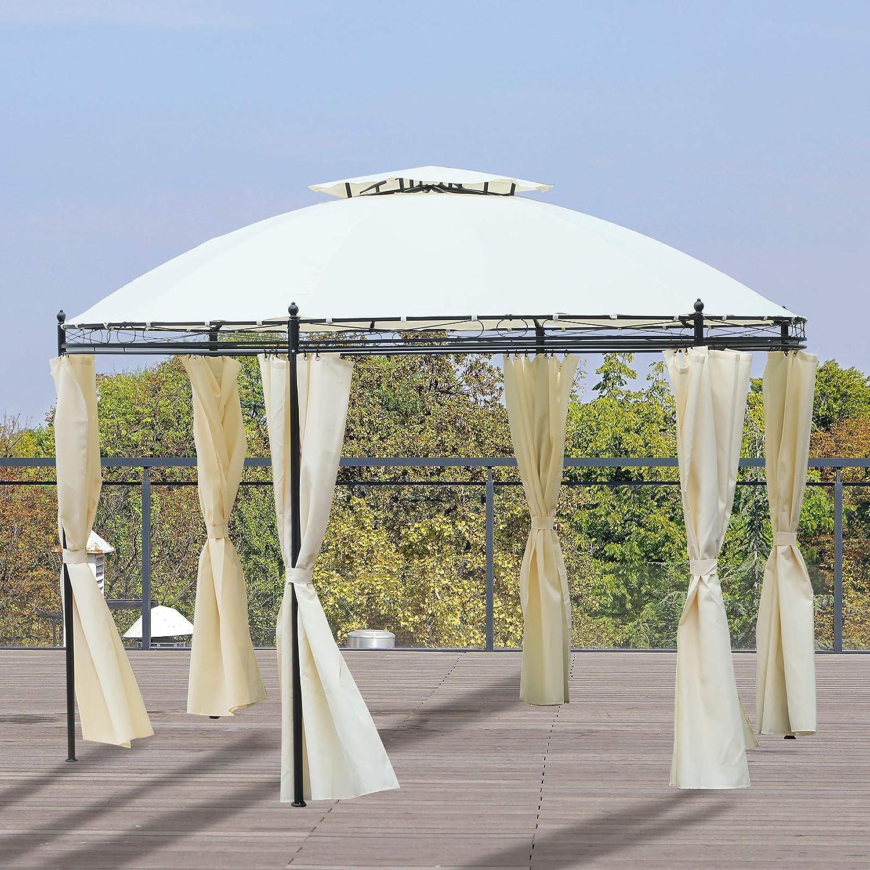 Outsunny - Cenador de metal con marco de metal, 3, 5 m de diámetro ...