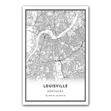 Louisville map poster print modern black and white wall art scandinavian home decor