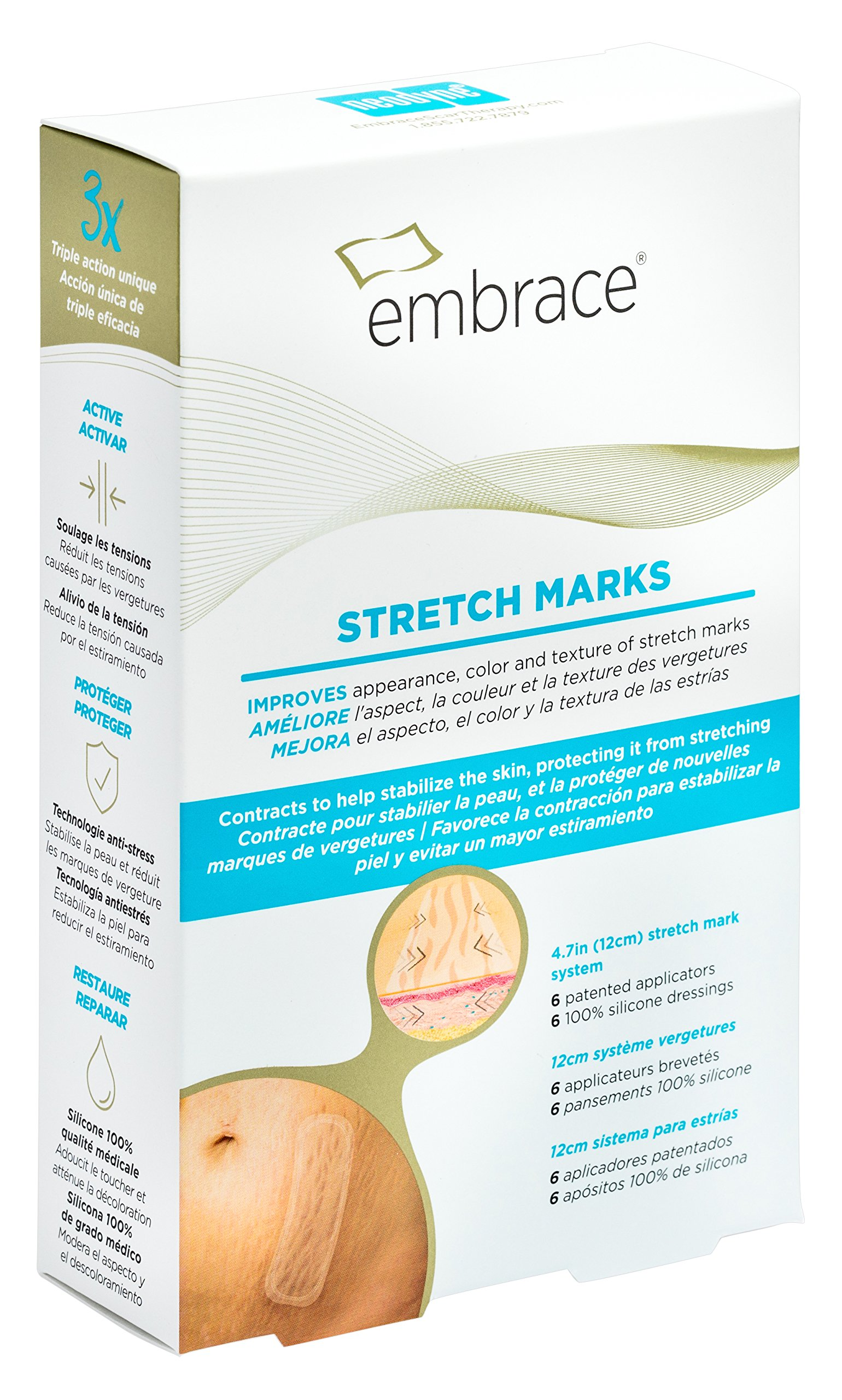 Embrace Stretch Marks Scar Treatment, Silicone Sheets for Red and Pink Stretch Marks, Large 4.7 inch Sheets, 6 Count (60 Day Supply)