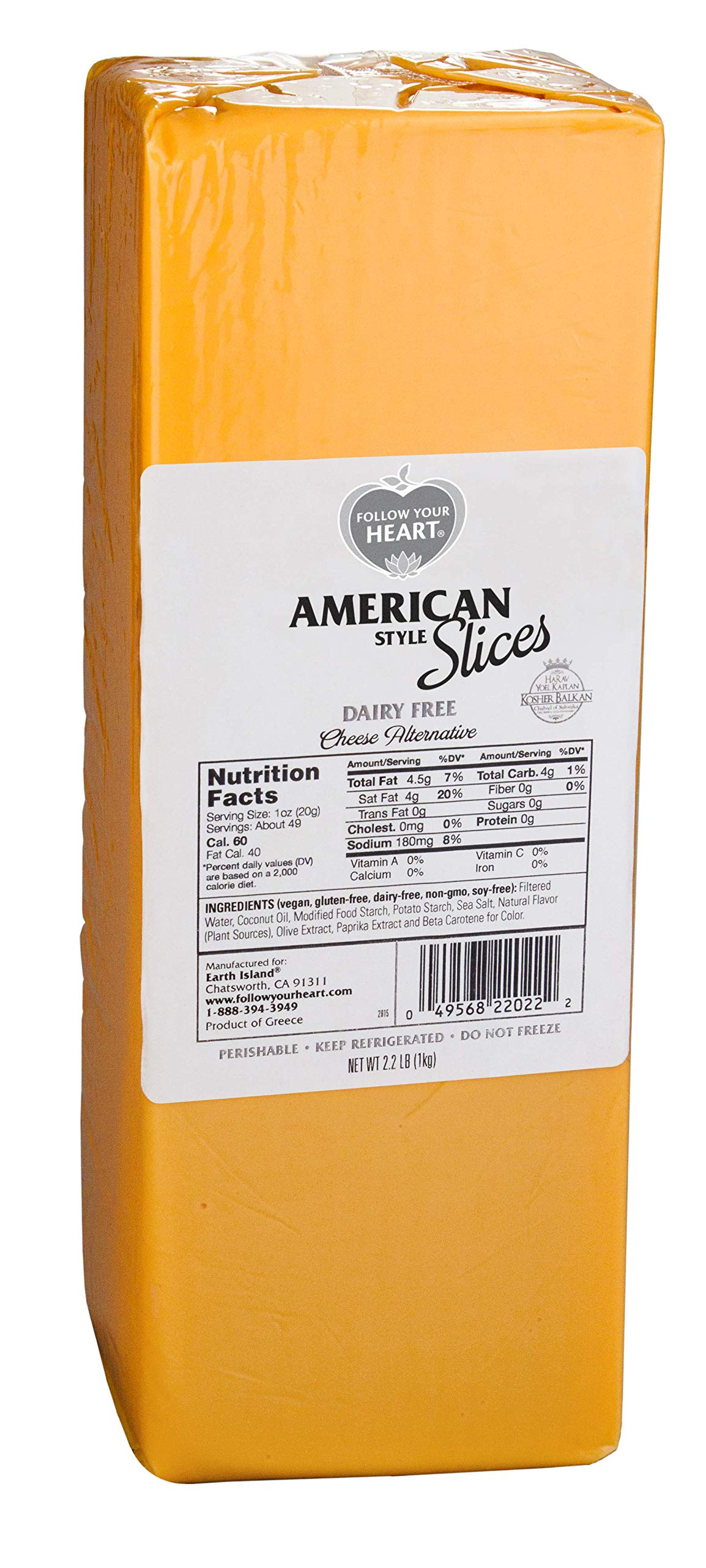 Follow Your Heart Dairy Free, Non-GMO, Soy Free, Vegan American Style Slices Cheese Alternative 2.2 lb (50 slices) Pack of 14 by Follow Your Heart (Image #1)