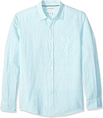 Essentials Mens Regular-fit Long-Sleeve Gingham Linen Shirt