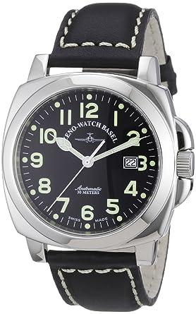 Zeno Watch Basel 3554-a1 - Reloj analógico automático para hombre con correa de piel, color negro: Amazon.es: Relojes