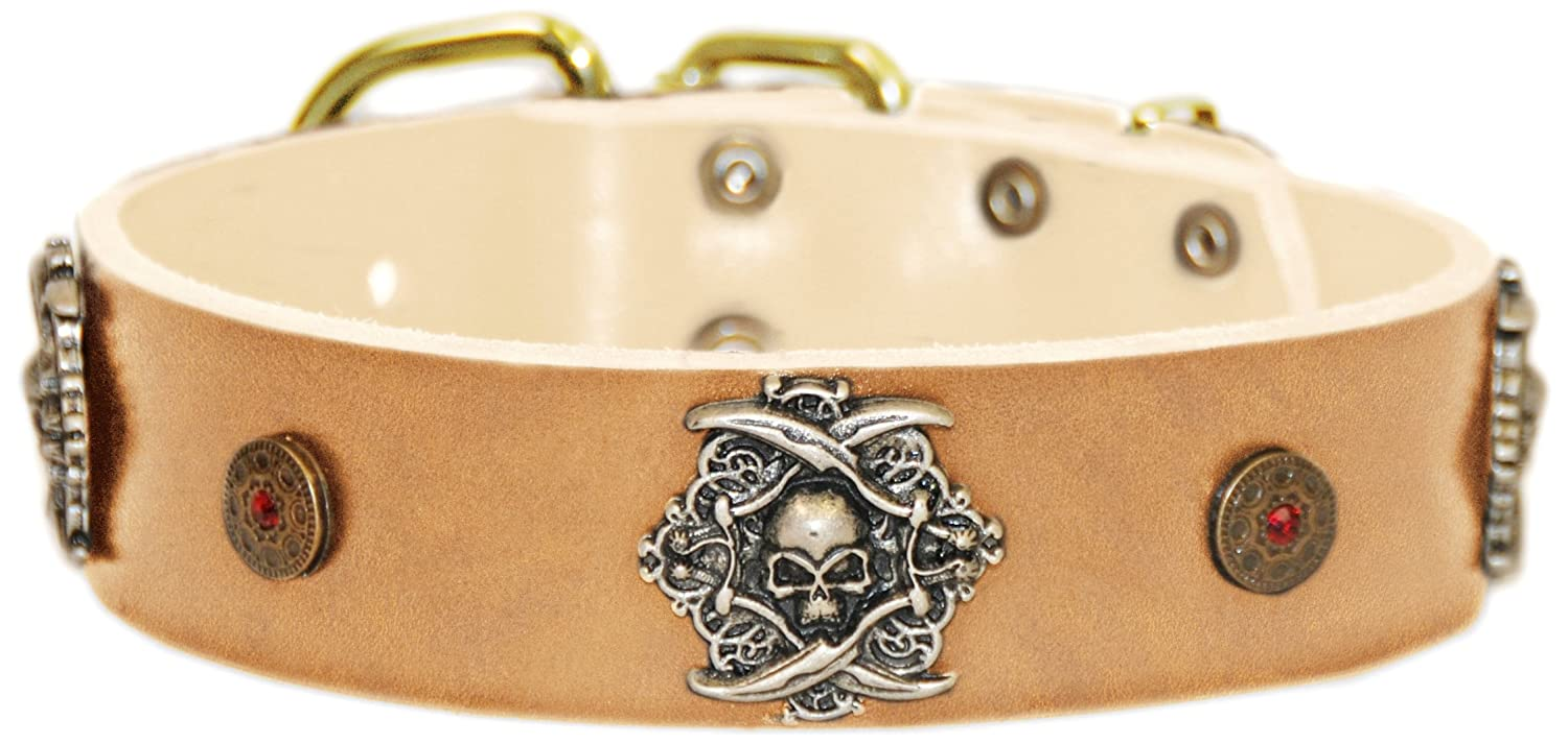 Dean and Tyler  THE PIRATE  Leather Dog Collar with Solid Brass Buckle Tan Size 91cm by 4cm Width. Fits Neck Size 34 Inches to 38 Inches.