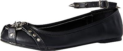 Demonia STAR-23 Black Ankle Strap Flat Studded Straps Pentagram Shoes