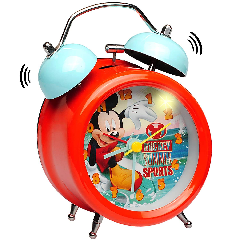inkl Metall Glocken Alarm Disney Mickey Mouse Kinderwecker Analog Kunststoff // Plastik LED Licht alles-meine.de GmbH 1 St/ück /_ Wecker Name M/ädchen /& Jungen..