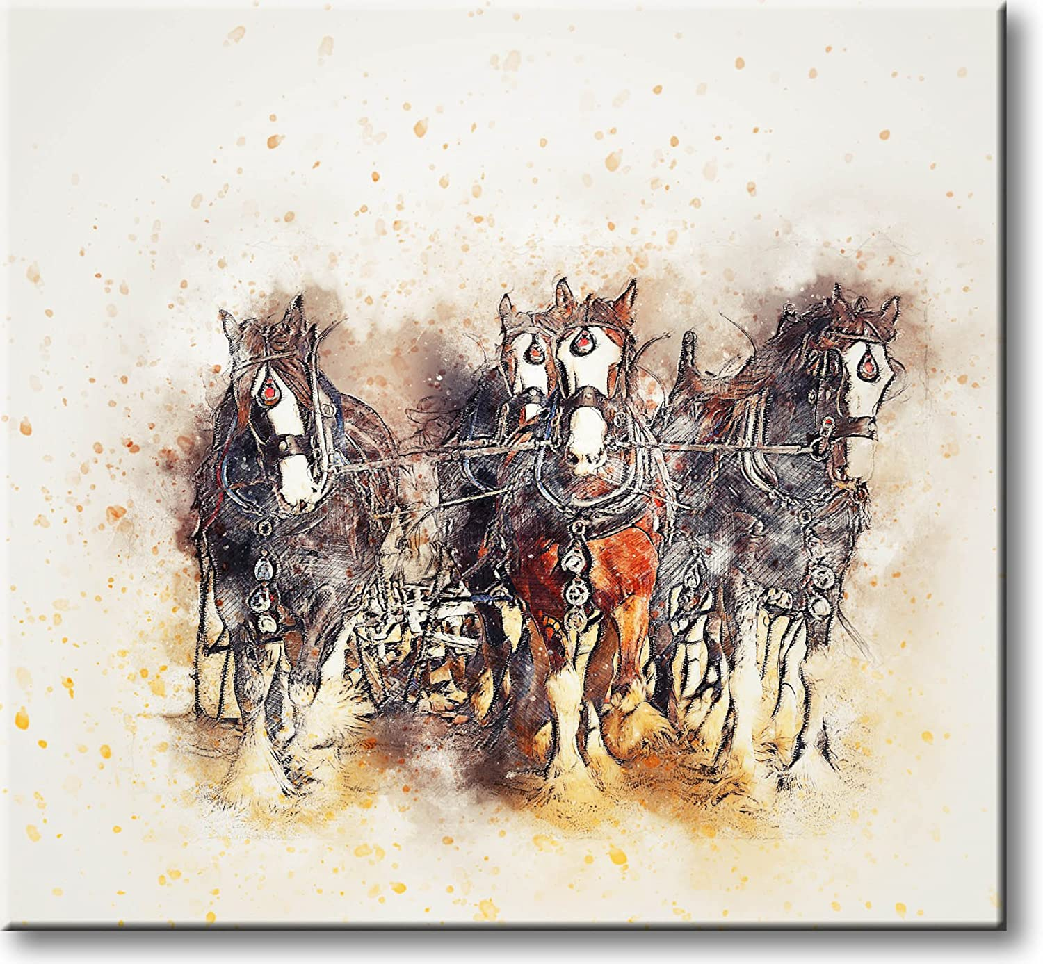 Horses and Carriage Painting Picture on Stretched Canvas, Wall Art Décor, Ready to Hang