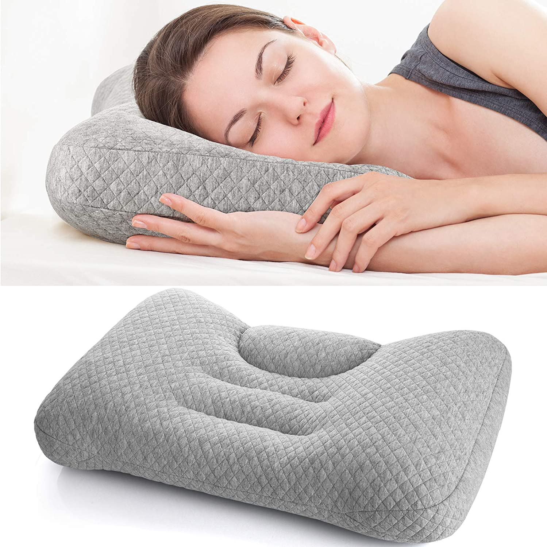 relleno de tubos de PE innovadores Maywind Bed Almohada para el cuello ergon/ómica almohada ortop/édica de contorno lavable a m/áquina almohada cervical ajustable para dormir