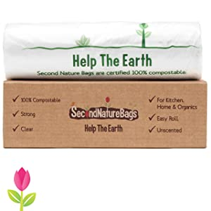 Second Nature Bags, Premium Certified 100% Compostable Biodegradable, Extra Thick, Kitchen Food Scraps & Home Trash Bags, 3 Gallon, 100 Bags