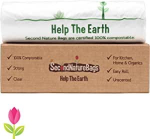 Second Nature Bags, Premium Certified 100% Compostable, Extra Thick, Kitchen Food Scraps & Home Trash Bags, 3 Gallon, 100 Bags