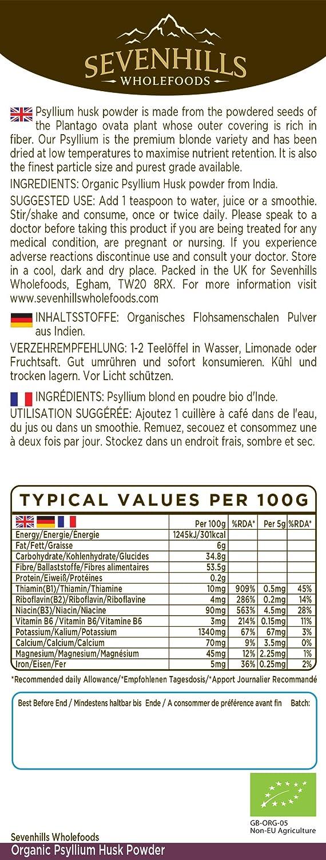 Sevenhills Wholefoods Cáscara De Psyllium En Polvo Orgánico 1kg: Amazon.es: Salud y cuidado personal