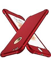 ORETECH Coque iPhone 6/6S, avec [2 x Protecteur D'écran en Verre Trempé] iPhone 6/6S Housse Hybride Robuste 2 en 1 Antichoc Ultra Mince Mat Anti-Rayures Dur PC+TPU pour iPhone 6/6S Case 4.7'' Rouge
