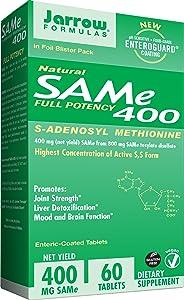 Jarrow Formulas SAM-e, Promotes Joint Strength and Mood, 400 mg, 60 Enteric-Coated Tabs