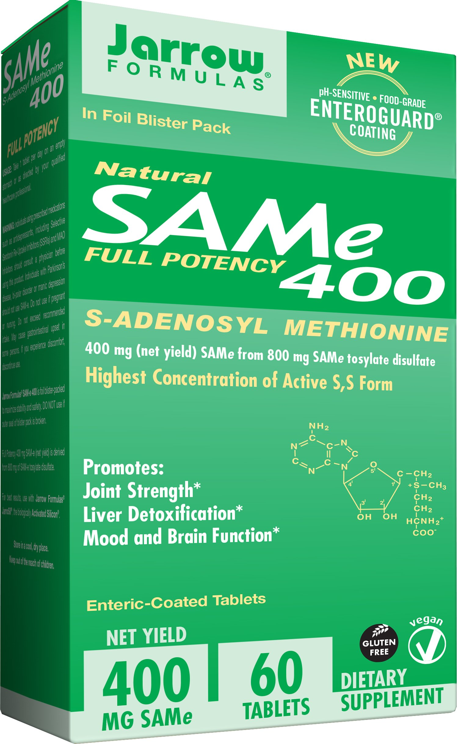 Jarrow Formulas SAM-e, Promotes Joint Strength and Mood, 400 mg, 60 Enteric-Coated Tabs