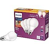 Philips LED Dimmable Warm Glow Effect A19, Flicker-Free, EyeComort Technology, 800 Lumen, 2200K-2700K, 8.8W=60W, E26 Base, Ti