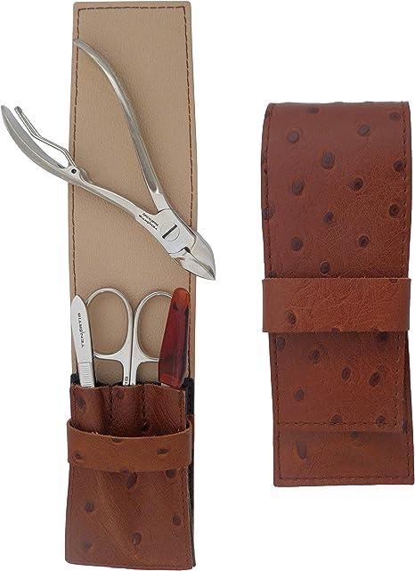 Set Manicura y Pedicura para Hombre 4 Piezas en Piel Marrón - Tenartis 369 Made in Italy: Amazon.es: Salud y cuidado personal