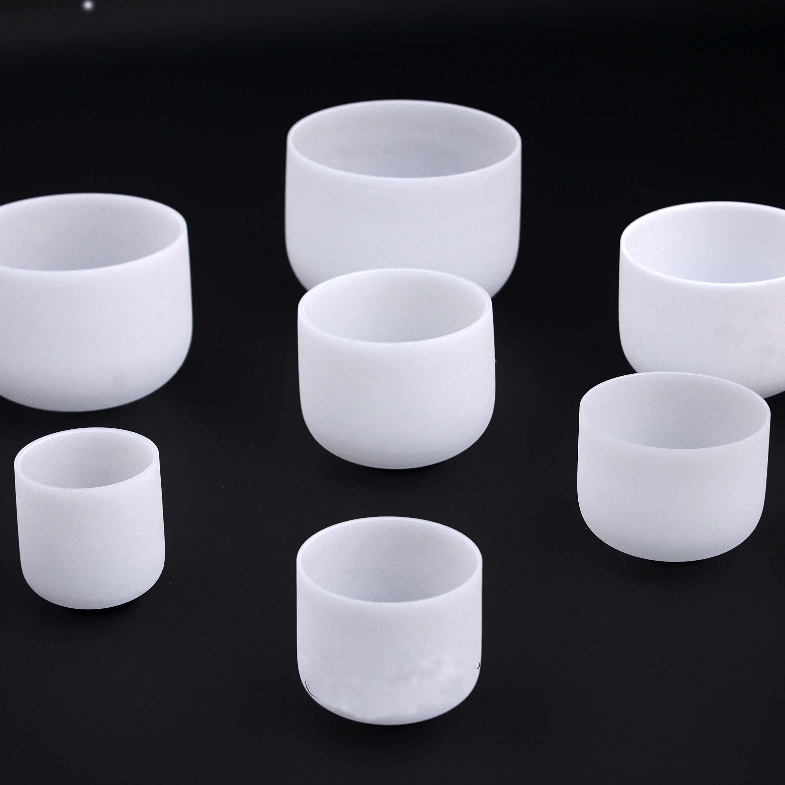 CVNC 432HZ Chakra Tuned Set Of 7 PCS Perfect Frosted Quartz Crystal Singing Bowls 6''-12''