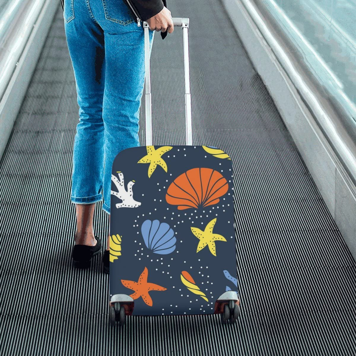 Traveling Luggage Cover Funny Starfish And Coral Suitcase Protector 20X24 Inch Luggage Trolley Case