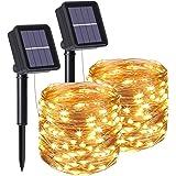 flintronic® Guirnalda de Luces Solares, 2PCS/100LED Luces Jardín (8 Modos)10M/33pies Auto Encendido/Apagado Alambre de…