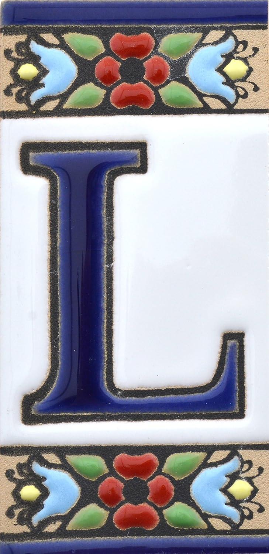 cuerda seca LETTRE S Carreaux c/éramique peints /à la main avec technique corde s/èche directions et signalisation Noms /Écriteaux num/éros et lettres Dessin FLORES MINI 7,3 cm x 3,5 cm.