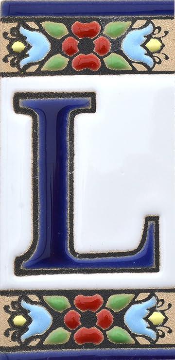 """Image of Letreros con numeros y letras en azulejo de ceramica, pintados a mano en técnica cuerda seca para nombres y direcciones. Texto personalizable. Diseño FLORES MINI 7,3 cm x 3,5 cm. (LETRA """"L"""")"""