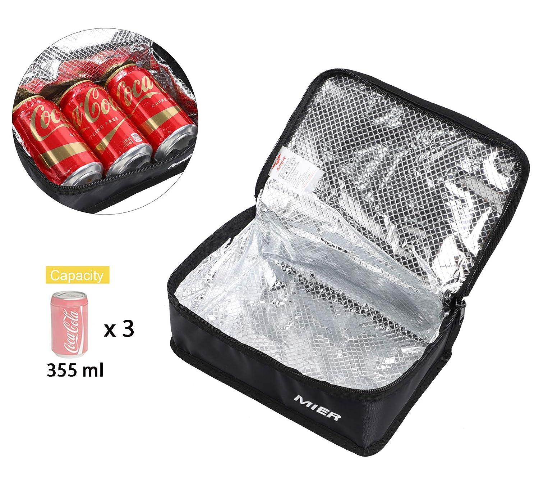 MIER Bolsa de la lonchera Bolsa de almacenamiento de alimentos Bolsas m/ás frescas Kit de viaje aislado para mujeres y hombres Set de 1 Negro 1pcs