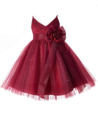 09c69f2fc5 Image Unavailable. Image not available for. Color  Mrprettys Girls Burgundy  Tulle Flower Girl Dress ...